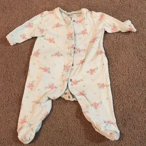 Light green floral footie for baby